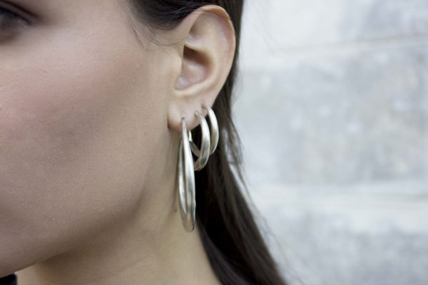 Large Silver Chenier Hoop Earrings