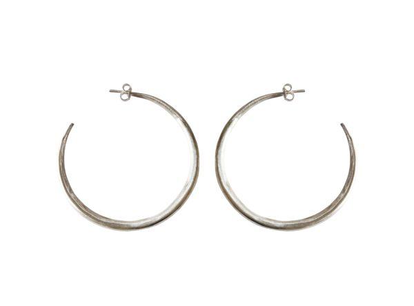 Large Silver Chenier Hoop Earrings