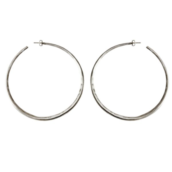 XL Silver Hoop Earrings