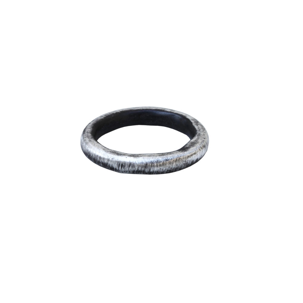 Oxidised Fine Silver Chenier Band Ring