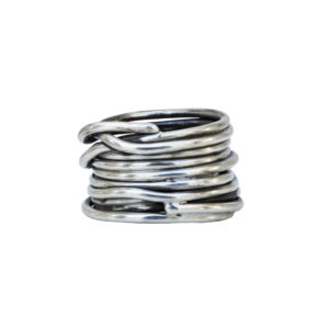 Wired Silver Chunky Ring