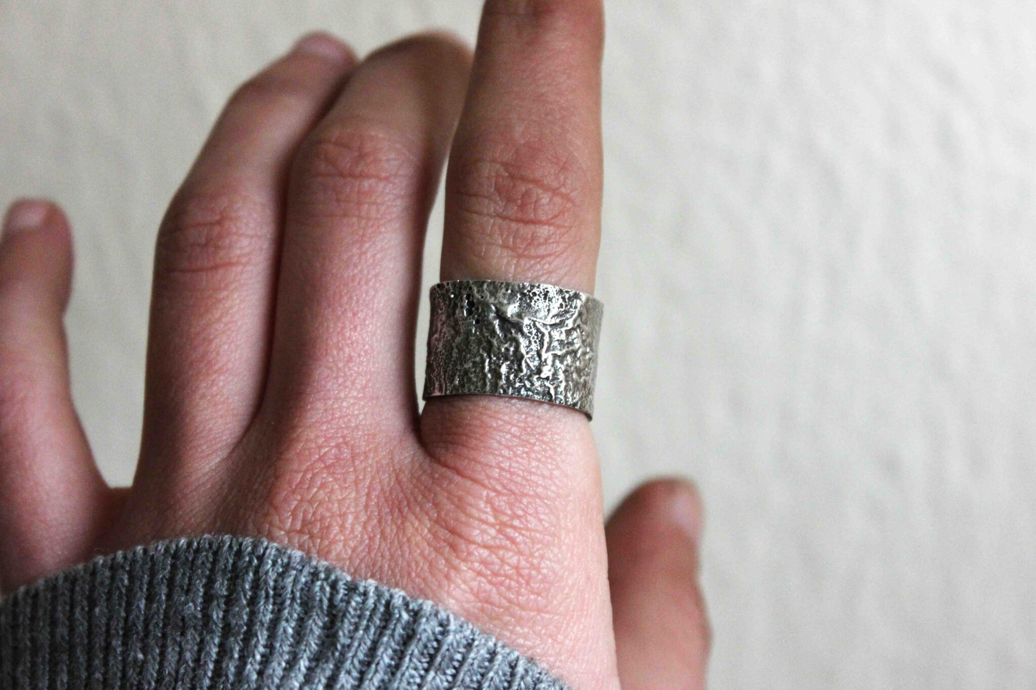 Burnt textured silver ring